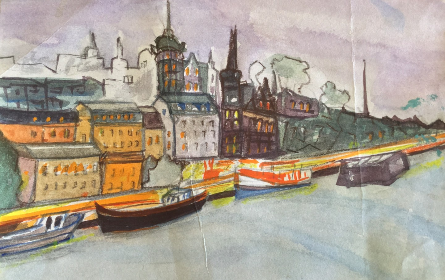 Ann Lahti - Winter in Stockholm Old Town, water colors