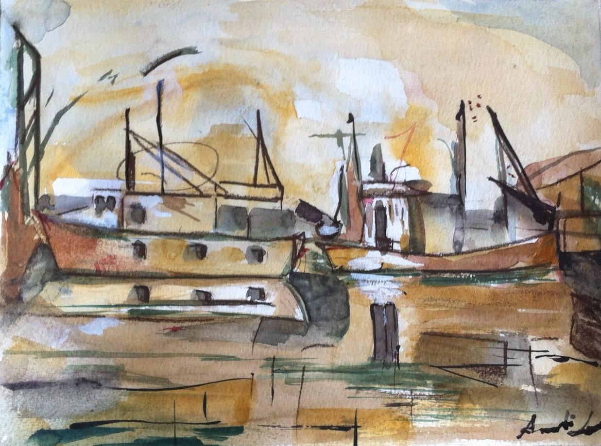 Ann Lahti - Harbour in sunset